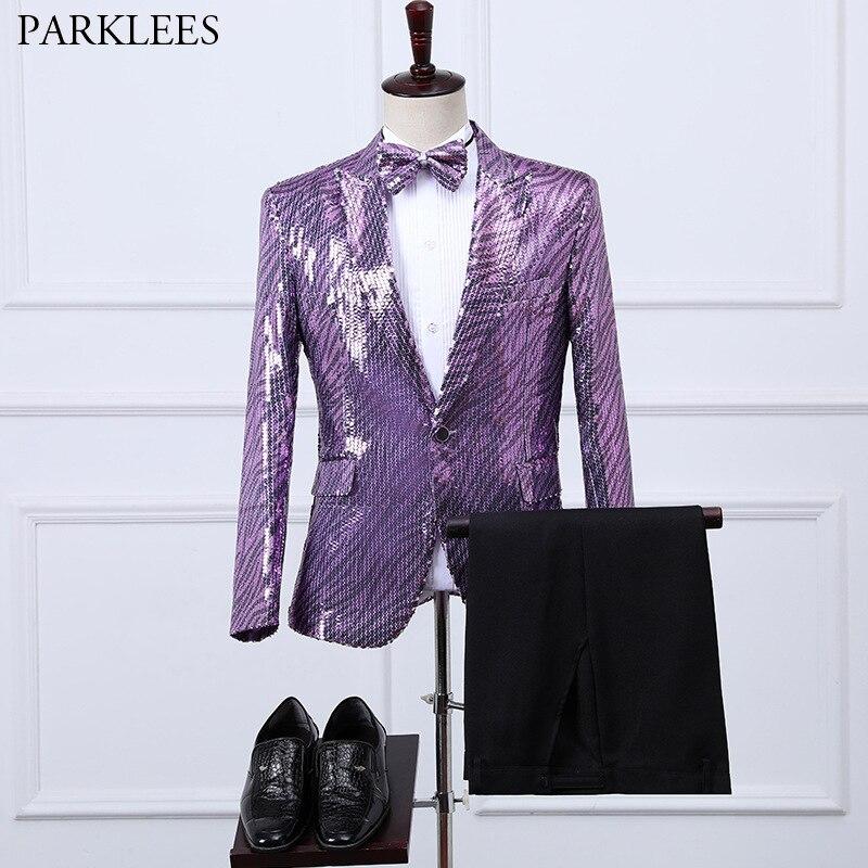 Shiny Sequin Mens Suits 3 Piece Nightclub Dance Costume Men Suit Set (Blazers+Pant+Bow Tie) Glitter Party Performance Men Suit