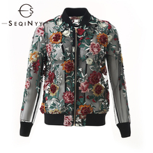 SEQINYY Black Jacket 2020 Summer Spring New Fashion Design Women Long Sleeve Luxury Beading Flowers Embroidery Top