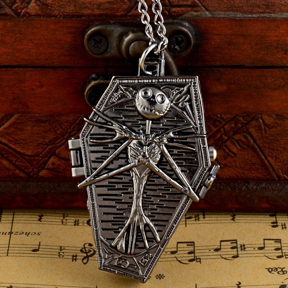 New Black  Tim Burton The Nightmare Before Christmas Quartz Pocket Watch Jack Skellington  Chain Pendants Clock Women Men