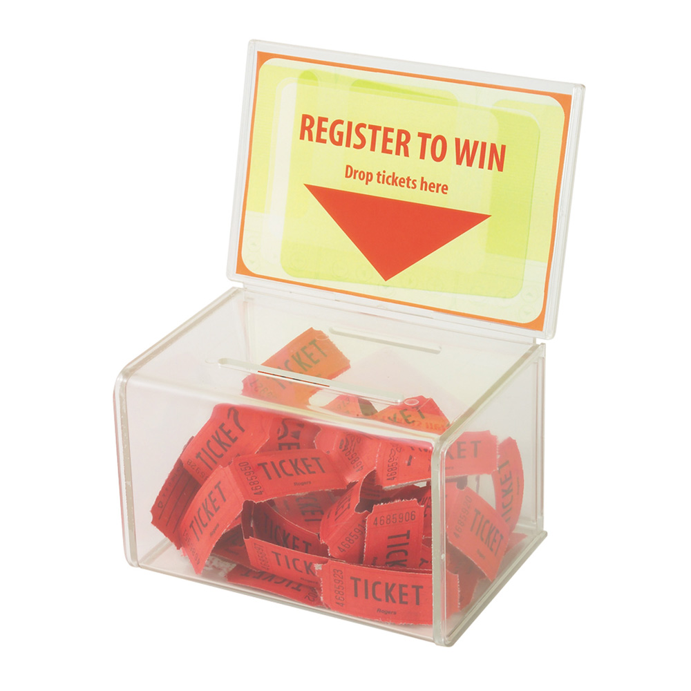 Counter Acrylic Perspex Entry Collection Box,Perspex Raffle Box for Church,non-profitable Group,Charity (without Keylock) image