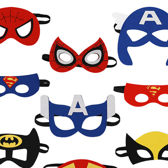 Superhero Cosplay Superman Batman Spiderman Thor IronMan kids Party Costumes Masks Cute Eye  Decorate Fancy Props Masquerade