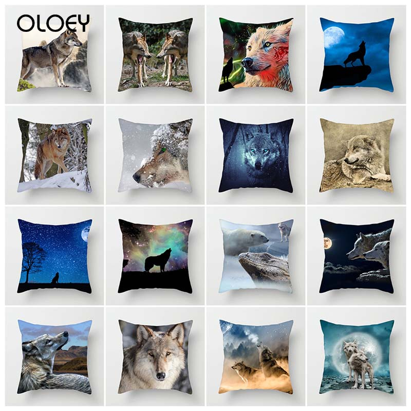 Natural Animal Pillowcase Wolf Dog Soft Throw Pillow Cover Decorative Pillow Case Home Hotel Put on Backrest Decoration Unique