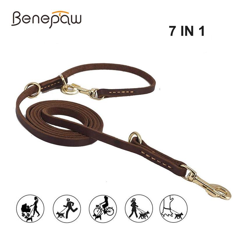 Benepaw Multifunctional Genuine Leather Dog Leash Hands Free Short Medium Long Training Pet Leash For Small Medium Large DogsLeashes   -