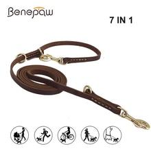 Benepaw multifuncional trela do cão de couro genuíno mãos livres curto médio longo treinamento pet trela para pequeno médio grandes cães