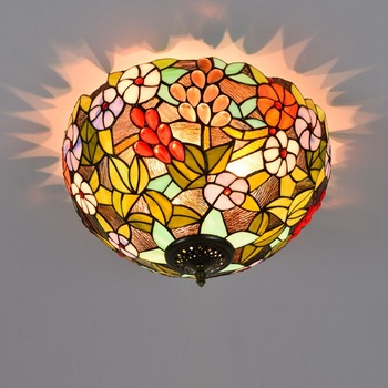 40cm American-Style Grape Tiffany Multi-Colored Glass Restaurant Bedroom Corridor Bathroom Glass Ceiling Lamp american pastoral rose three restaurant tiffany pendant lamp
