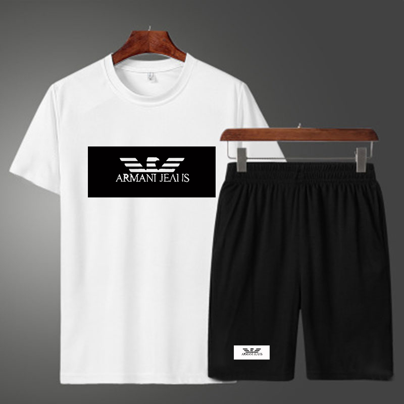 2021 new sports suit 2 suits leisure print beach suit fitness summer men's shorts +T shirt men's suit large size XXL