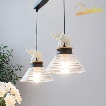 Modern LED Pendant Lights Lighting Resin Elephant Shade Loft Pendant Lamp Hotel Restaurant Home Interior Decoration Hanginglamp