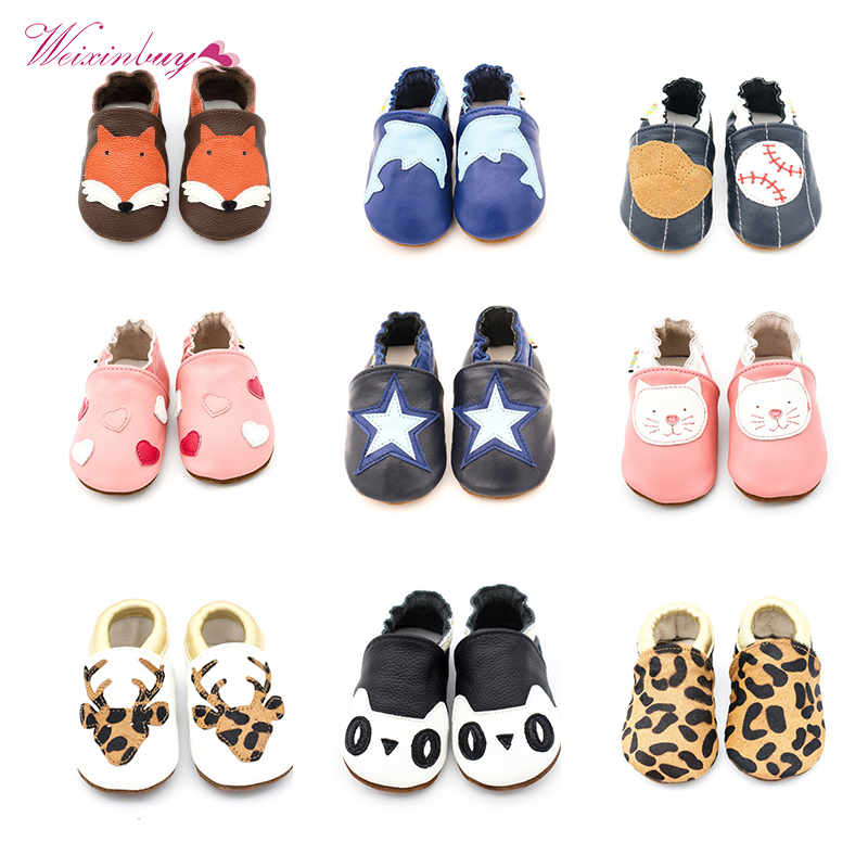 10 Styles Skid-Proof Baby Shoes Soft Genuine Leather Baby Boys Girls Infant Toddler Moccasins Shoes Slippers First Walkers