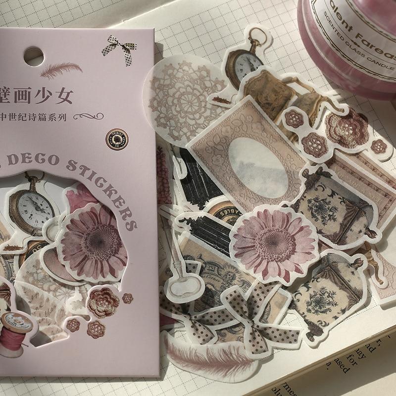 40 Pcs/set Stickers Vintage Plant Flower Plant Flower Pattern Stickers In  Stationary Stickers Vintage Sticker Bullet Journal