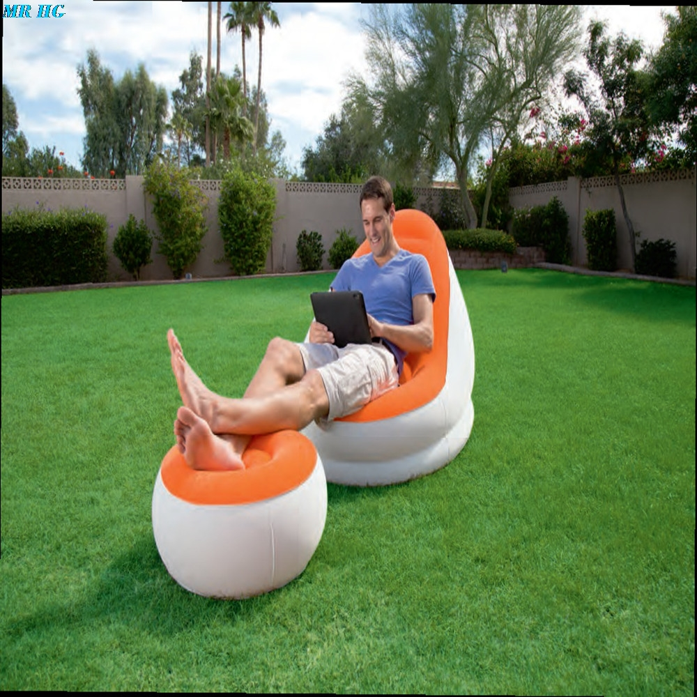 Flocked PVC Inflatable Sofa Lounge Air Chair With Foot Rest Indoor Outdoor Living Room Ottoma Stool Garden Lounger