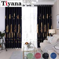 Tiyana hojas doradas 95% cortinas opacas para sala de estar dormitorio brillante cortinas de ventana para niños cortinas de sala HP81X