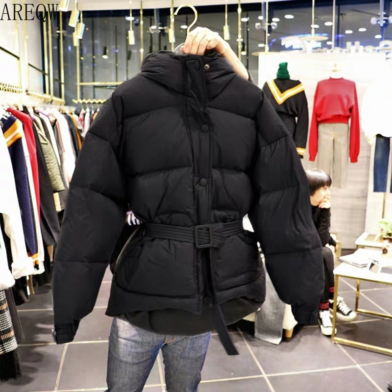 Three Color Solid Women   Parkas   Hooded Zipper Single Breasted Coat Winter Thick Korean Fashion Sashes Jacket
