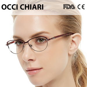Image 2 - OCCI CHIARI Vintage Metal Computer Anti blue Ray Glasses Women Clear Eyeglasses Frame Cat Eye Diamond Eyewear Mother Gift COMIN