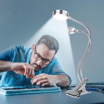 Светодиодный настольный светильник 5 Вт USB с регулируемой яркостью гибкий зажим для ПК Настольная лампа теплый белый металлический шланг ги...