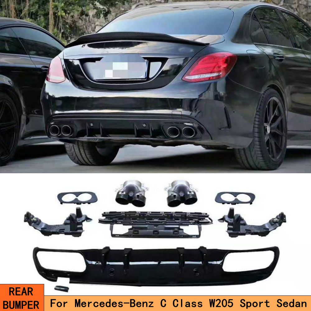 For C63 AMG Diffuser SEDAN exhaust tips for <font><b>Mercedes</b></font> Benz W205 C205 4-Door C200 C300 C43 AMG to C63 for AMG Rear Bumper Lip image