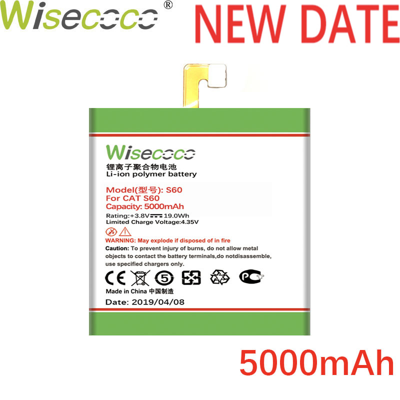 Wisecoco S60 5000mAh Newly Produced Replacement Battery For  CAT S60 SmartPhone Battery Replace+Tracking Number