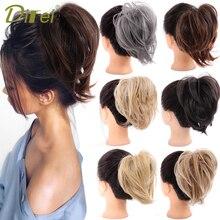 Synthetic-Hairpieces Hair-Bun Ponytail Donut-Wrap Elastic DIFEI Chignon Rubber-Band Short