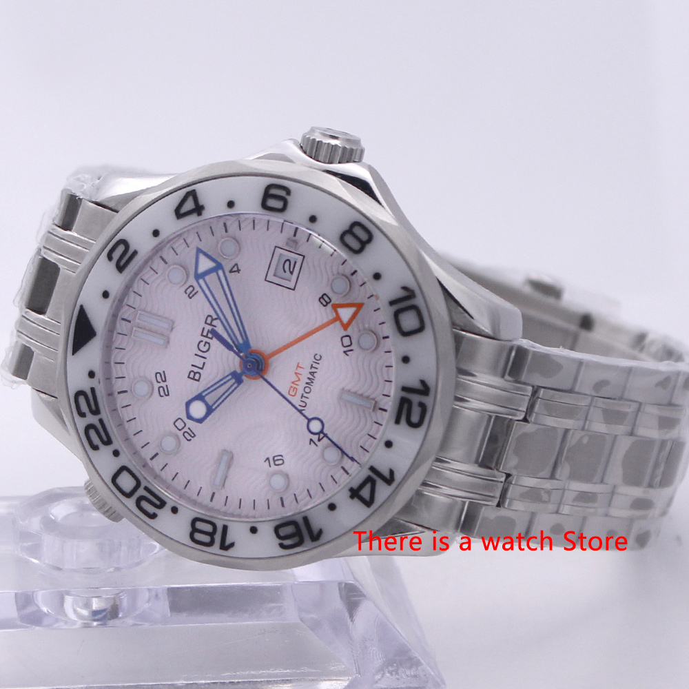 Bliger 41mm Automatic Mechanical Men Watch Sapphire Crystal Stainless Steel Bracelet Luminous Waterproof Calendar GMT Male Watch