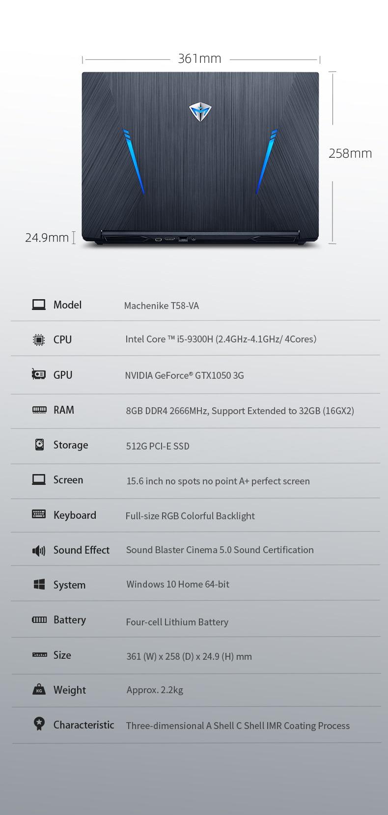 Игровой ноутбук Machenike T58-VA GTX1050(i5-9300H+ GTX 1050/8GB ram/512G SSD/15,6 '') игровой ноутбук