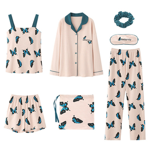 JULY'S SONG Butterfly Print Cotton Women's 7 Pieces Pajamas Sets With Chest Pad Spring Autumn Sleepwear Female Homewear
