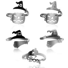 1Pc Halloween Elements Ring Witch Hat Broom Mop Pumpkin Lamp Hollow Simple Ring Opening Adjustable цена 2017
