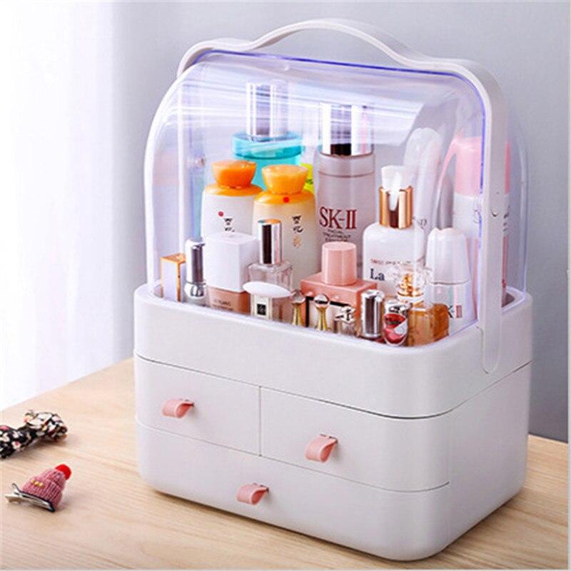 Прозрачная коробка для хранения косметики, настольный органайзер для косметики и косметики, защита от пыли