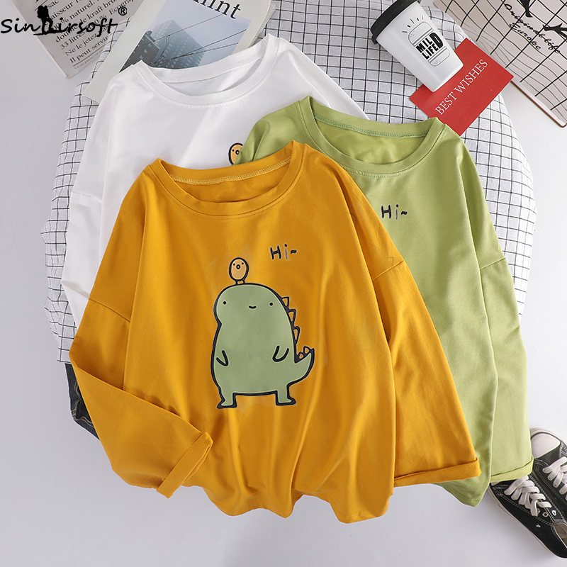 Autumn Cotton Soft Breathable Comfortable Long sleeved T Shirt Woman Fashion Cartoon Printing Casual Wild T shirt Women Tshirt in T Shirts from Women 39 s Clothing