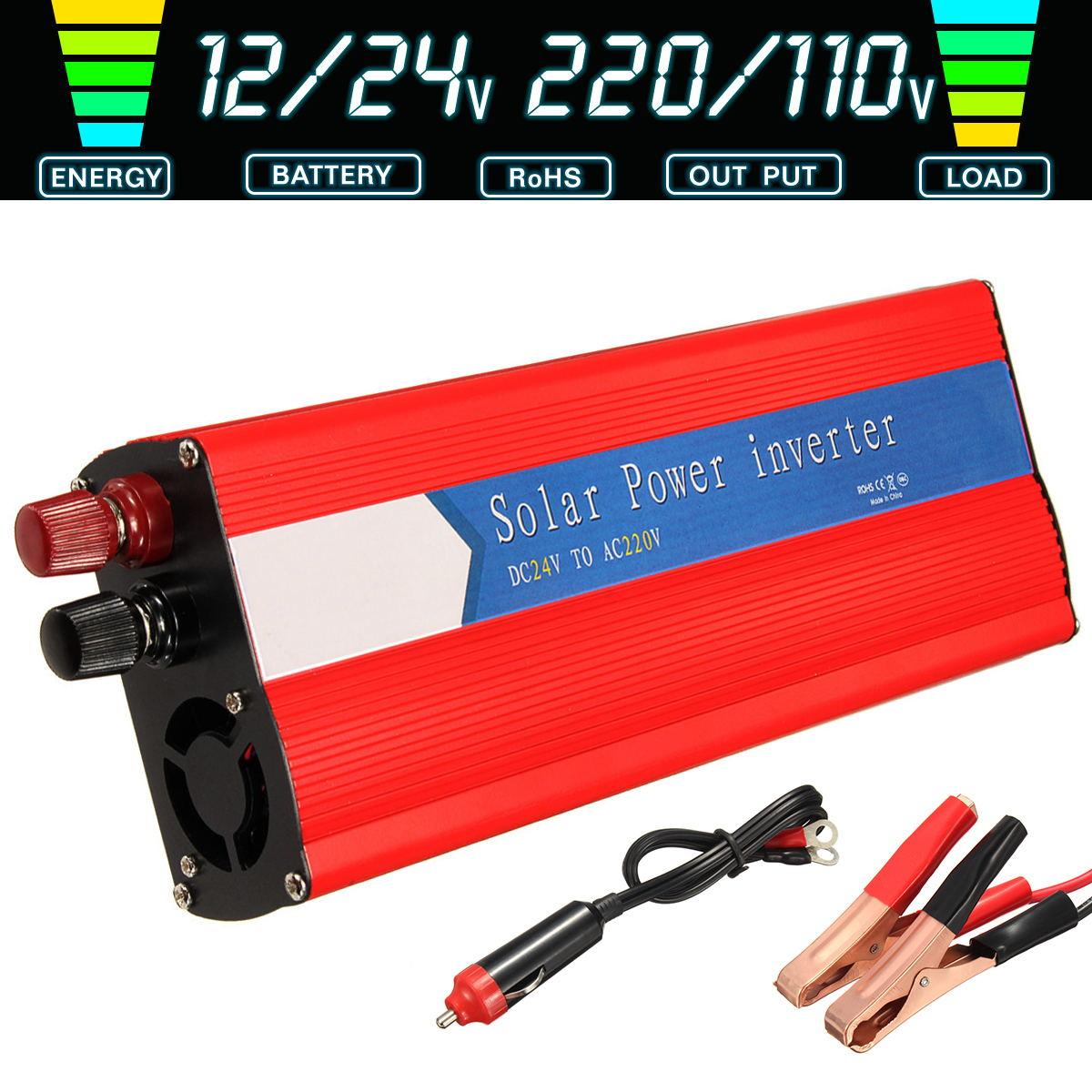 6000W Power Inverter Modified Sine Wave LCD Display DC 12V/24V To AC 110V/220V Solar 2 USB Car Transformer Convert With Plug