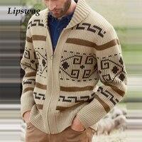 Мужской трикотажный свитер на молнии с оригинальным рисунком 1