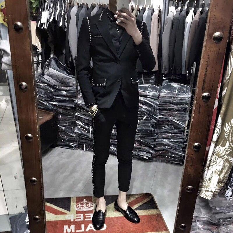 Trajes De Hombre British Style Slim Suit Two-piece Suit Nightclub Rivet Coat Smoking Homme Mariage Fashion Korea Suit Male