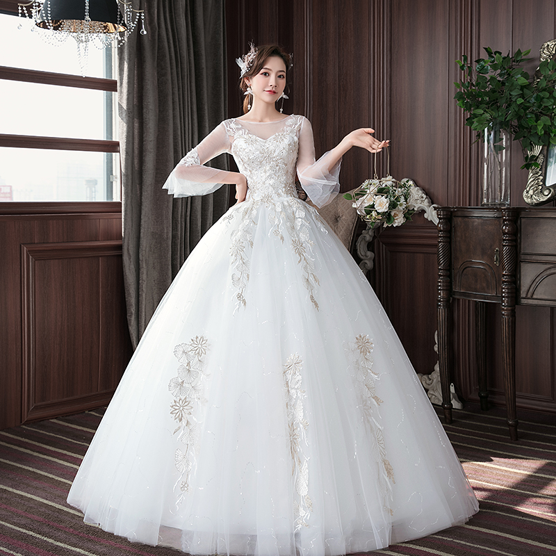 Vestido De Noiva 2020 Classic O Neck Half Sleeve Lace Embroidery Applique Lace Up Wedding Dress Plus Size Custom Made Bride Gown