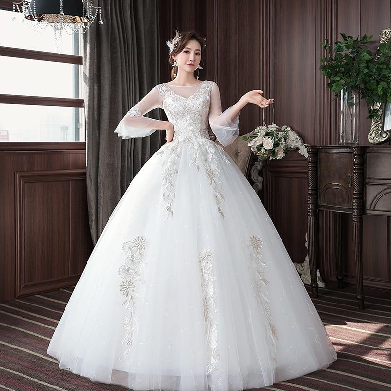 Vestido De Noiva 2020 Classic O Neck Half Sleeve Lace Embroidery Applique Lace Up Wedding Dress Plus Size Custom Made Bride Gown