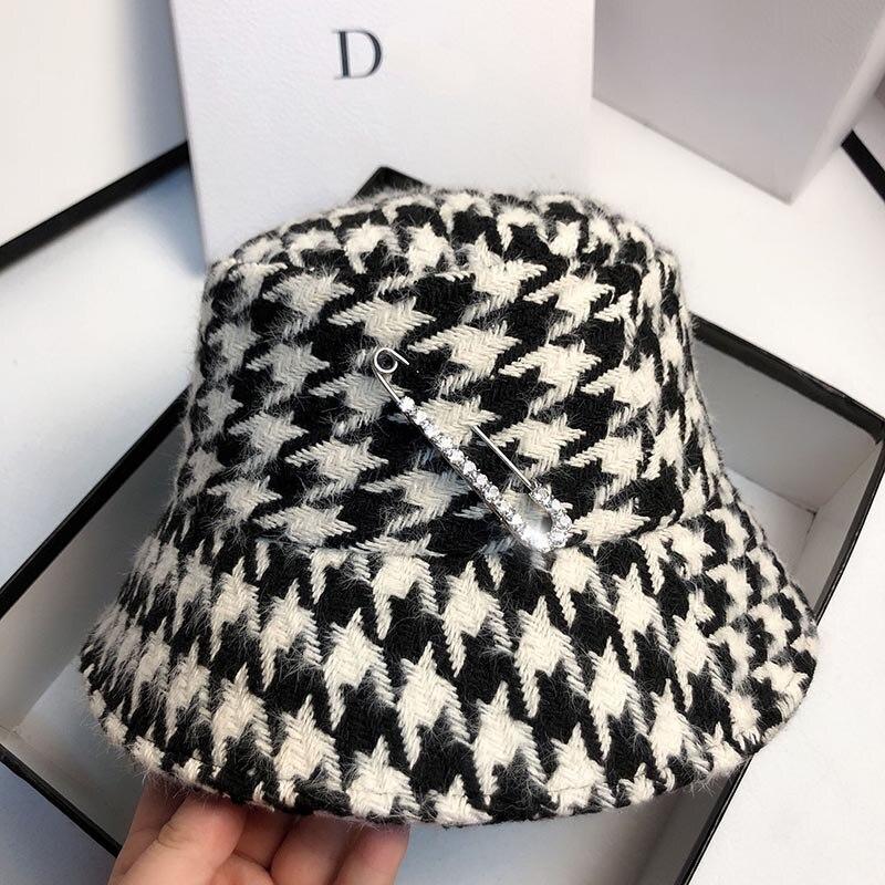 Женские зимние шляпы ведра Фибоначчи, осенняя Солнцезащитная УФ шляпа, модные женские элегантные клетчатые шапки, стразы, повседневные шляпы с узором «гусиные лапки»|Женские кепки летнии|   | АлиЭкспресс