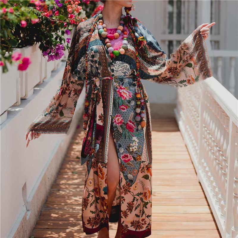 2019 Бохо с цветочным принтом летнее платье Парео Женская пляжная одежда хлопковая Туника сексуальное переднее Открытое платье Парео-саронг plage N653