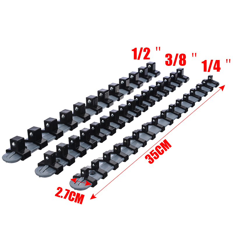 34cm Plastic Socket Tool Storage Holder Wall Mounted Organizer Shelf Stand Socket Tray Rail Holder Clips Set 3Size 1/4