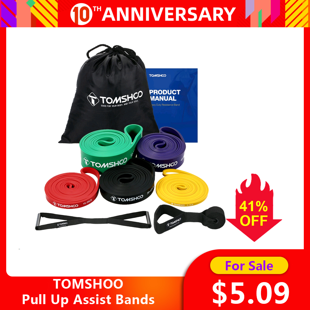 TOMSHOO Fitness Rubber Bands 5 Packs Pull Up Assist Bands Set Resistance Loop Natural Latex Bands  With Door Anchor And Handles