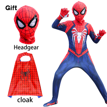 Anime Halloween Spider costume man White eyes mask cloak child adult one-piece suit spider red cosplay 2020 halloween costumes for adult spider costume children spider anime cosplay boys spider suit lycra zentai suit