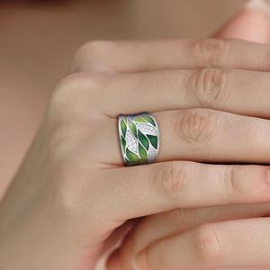 Image 5 - SANTUZZA Silver Rings For Women Genuine 925 Sterling Silver Green Bamboo leaves Luminous CZ Trendy Jewelry Handmade Enamel