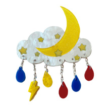 Moon Clouds Acrylic Brooch Vintage Jewelry Women Man Brooches Pins moon brooch black antique silver the first lunar month moon sun brooches pins for men and women full rhinestone jewelry pin