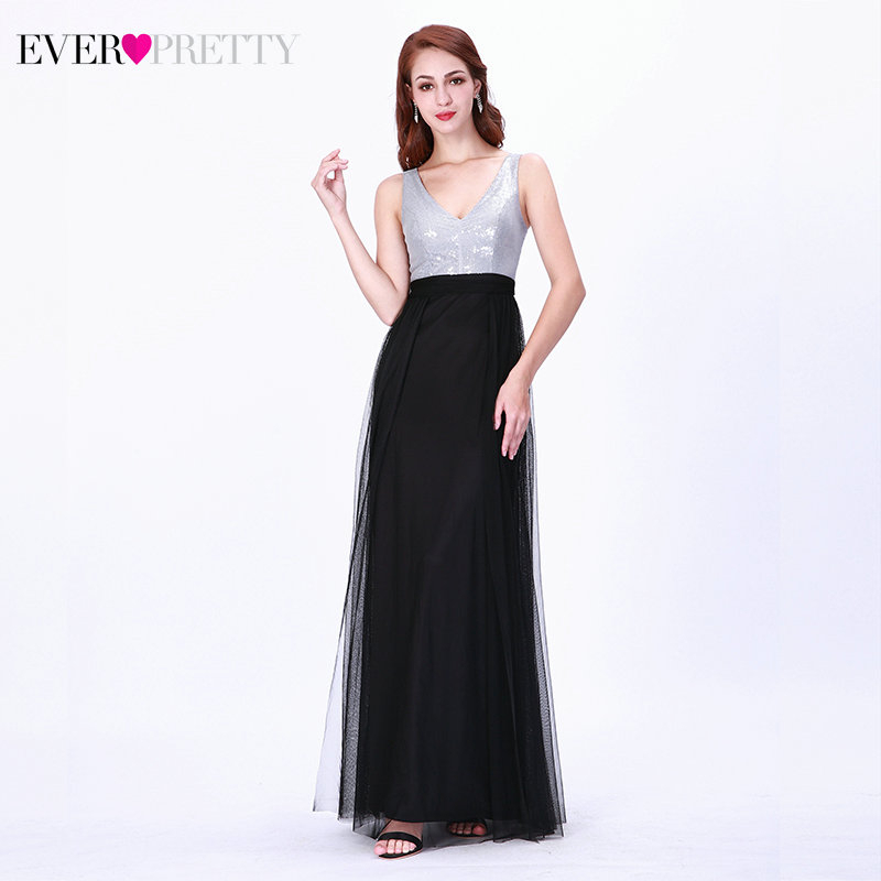 Elegant Sequined Evening Dresses Ever Pretty EZ07507BK A-Line Double V-Neck Sleeveless Tulle Sparkle Formal Party Gowns 2020
