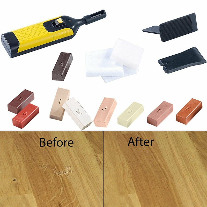 19Pcs Laminate Floor Repair Kit 11 Color Wax Blocks For Repair Damaged Laminated Flooring Kitchen Worktops Wax System Floor Work