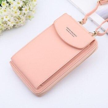 RICORIT Women Wallet Shoulder Bag Leather Shoulder Strap Bag Mobile Phone Card Holders Hand Bag Girl Solid Color Wallet Handbag