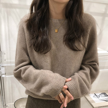 2020 New Autumn and Winter Women's cashmere sweater O-Neck  Loose Sweater Women's Thick Pullover Wool Base Solid Sweater turtleneck pullovers loose basic sweater autumn and winter tops solid cashmere sweater women loose thick mink cashmere sweater