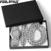 Gold Gold Halskette + Uhr + Armband Hip Hop Miami Curb Kubanischen Kette Iced Out Gepflasterte Strass CZ Bling Rapper für Männer Schmuck