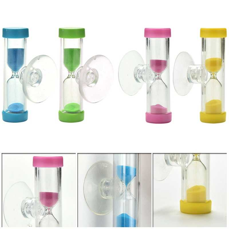 1 Uds. Color al azar Mini 3 minutos reloj de arena temporizador Ampulheta para cepillar dientes ducha temporizador ventosa