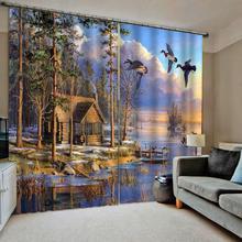 Индивидуальные размеры Роскошные затемненные 3D окна шторы для гостиной маслом пейзаж декоративные шторы