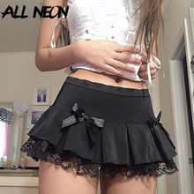 Ruffles Skirt Gothic Lace Bottoms Aesthetics A-Line E-Girl Low-Waist Black Vintage Double-Layer