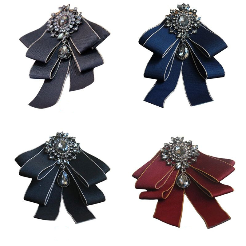 Men's Groom Wedding Layered Ribbon Neck Tie Imitation Crystal Rhinestone Drop Bowtie Jewelry Brooch Pins Badge Suits Accessories