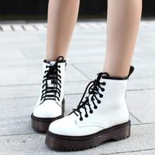 Модные женские Ботинки Martin; сезон осень-зима; ботильоны на платформе в байкерском стиле; женские ботинки; обувь из искусственной кожи черного цвета
