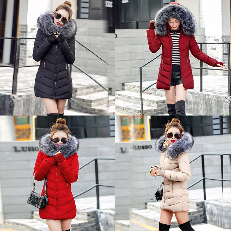 Winter Women Jacket Outwear Long-Fur-Collar Cotton-Padded Thicken Plus-Size for Warm